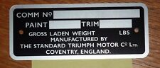 TRIUMPH TR4A COMMISSION PLATE - EARLY CARS TO CTC621** - FREE P&P TO UK