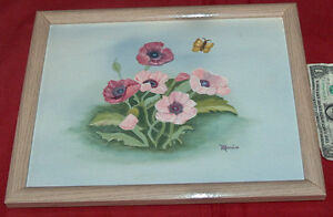 """FLORAL 15"""" X 12"""" CANVAS PAINTING ART MARIO WOOD FRAMED by FREDRIX USA"""