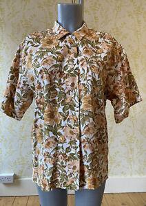 Vintage 1980s? MULBERRY floral & leaf print short sleeve boxy blouse UK 14