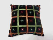 VERY NICE BLACK VELVET SNOWFLAKE CHRISTMAS THROW PILLOW
