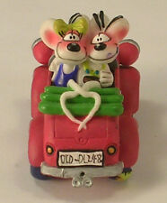 New listing Prototype Toy Cute Mouse Courting Couple in Small Red Old Fashioned Touring Car