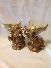 Set of 2 Gold Angels playing music
