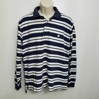 Brooks Brothers Mens Long Sleeve Performance Polo Shirt Large Blue Striped