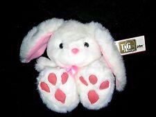 "8"" Tag Alongs Nwt Vintage Plush Bunny Rabbit Stuffed Animal White Pink Pbc New"