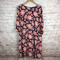 J. Jill Womens Navy Orange Floral 3/4 Sleeve Rayon Shift Dress Plus Size 18