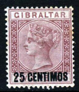 GIBRALTAR Queen Victoria 1889 25c. on 2d. Brown-Purple SG 17 MINT