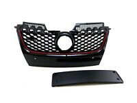 Grille Front Gloss Black +Red Line +Number Plate For Vw Golf Mk5 Gti 04-08