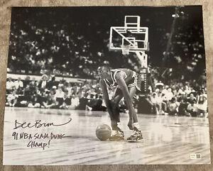 Dee Brown Signed B&W 16x20 Autograph Auto 91 NBA SLAM DUNK CHAMP Fanatics Holo