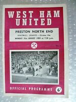 1959 WEST HAM UNITED v PRESTON NORTH END, 31 Aug (League Division One)