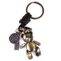 Fashion Vintage Retro Jewelry Womens Men Bear Pendant Leather Key Ring Keych TG