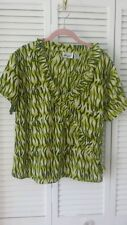 Argee 22 W or 3X short sleeve v-neck green top w/ soft accent ruffle