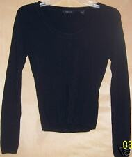 Womens Misses Black Long Sleeve Top Size Small Shirt