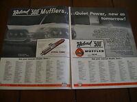 1958 FORD THUNDERBIRD BELOND 500 MUFFLERS  ***ORIGINAL 2 PAGE AD***