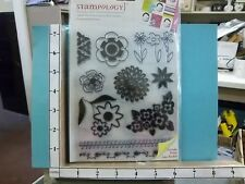 Stampology clear un mounted Flowers N borders Bonus Idea Book rubber stamps 25U