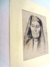 """BERTHOMME ST-ANDRE (1905-1977) Période Algérienne """"Sévérité """" Fusain /aqua 1925"""