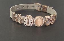 🐞Metal Silver & Rose Gold Mesh Charm Bracelet LADYBIRD🐞