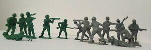 Bundle Of 80 vintage miniature Army Men Green & Grey mix Preloved toy soldiers