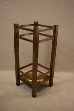 Arts and Crafts Oak Umbrella/Cane Stand With Brass Drip Tray