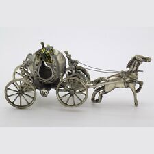 Vintage Solid Silver Italian Made Cinderella Carriage Figurine Stamped Miniature