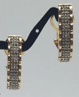 Gold Over Sterling Silver Earrings w/ Paved Diamond SUN Brand .925