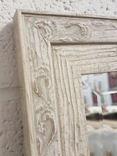 HANDCRAFTED MIRROR DISTRESSED WHITE STUNNING UK MADE SOLID WOOD