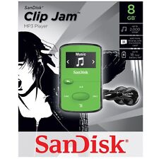 NEW SanDisk Sansa Clip Jam 8GB GREEN MP3 Player FM Radio Music USB MicroSD Slot