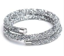 Diamante Shiny Grey Silver elegant Stardust Bracelet Cuff Bangle Two Rows BB178
