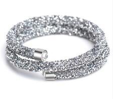 Diamante Shiny Grey Silver elegant Stardust Bracelet Cuff Bangle Two Rows BB178