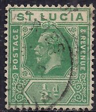 St Lucia 1921 - 31 KGV 1/2d Green Used Die 2 SG 91 ( G1057 )