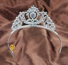 Girl Floral Tiara Hair Comb Clear Rhinestone Crown Headband Bridal Pageant Party