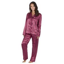 Womens/Ladies Long Sleeve Satin Stripe Pyjamas Pyjama PJ Nightwear Set Size 8-22
