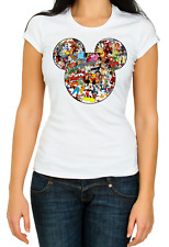 Mickey Mouse silhouette Disney characters Short sleeve Woman T Shirt K402