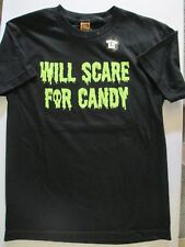NEW Halloween T Shirt XL Black Will Scare For Candy Boys Girls Unisex Costume