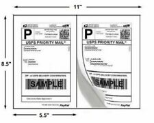 100 Sheets 200 Shipping Labels 8.5x5.5 White Half-Sheet Adhesive Laser/Inkjet