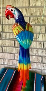 """XLg Talavera Macaw Parrot Bird Animal Ceramic Mexican Pottery Hanging Patio 21"""""""