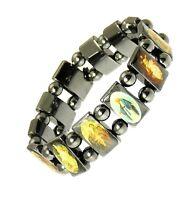 Magnetic Hematite Elasticated Saints Bracelet Jesus Wristband Religious Saints