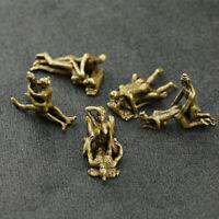 5PCS Curio China Brass Ancient Men Women Having Sex Sexual Posture Small Statue