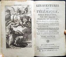 1788 FÉNELON, LES AVENTURES DE TELEMAQUE, LITTÉRATURE FRANÇAISE GRAVURES ULISSE
