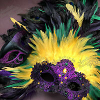 Purple Mardi Gras Masquerade Lace Feather Mask Costume Carnival Parade Party NEW