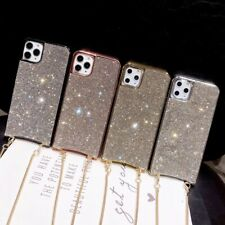 For iPhone 11 Pro Max XS XR 7 8 Girl's Glitter Bling Crossbody Chain Phone Case