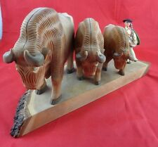 Vintage Hand Carved Solid Wood Animal Ox Bull Statue Figurine Sculpture Nice!!!