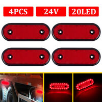 4x 24V Oval 20 Led Red Rear Side Outline Marker Lamps Lights Trailer Truck Lorry