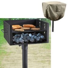 Heavy Duty Charcoal Grill Bbq Large Single Post Park Style With Cover Cooking