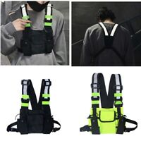 Reflective Tactical Front Chest Rig Bag Nylon Pouch Outdoor Sport Waterproof