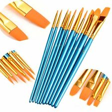 10pcs Nylon Hair Round Pointed Acrylic Watercolor Tip Artists Paint Brush Set 12pcs