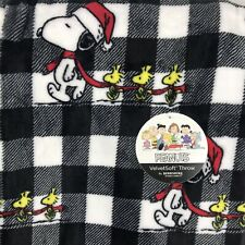 Snoopy Christmas Plush Throw Blanket Black Buffalo Check - 55 x 70  - Berkshire