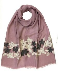 Floral Embroidered Scarf High Quality Soft Large Size Hijab Shawl Wrap