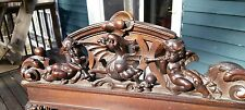 Antique carving pediment griffin cherubs  fantastic detail walnut