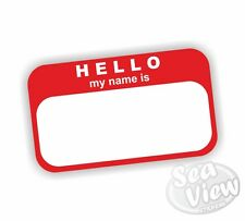 Hello my name is Red Office Car Van Sticker Stickers Decal Tags Labels
