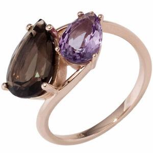 Ring Women's With Smoky Quartz Braun & Amethyst Purple Violet, 585 Gold Rose